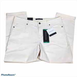 Calvin Klein Jeans Cream Crop Straight Jean/ 12